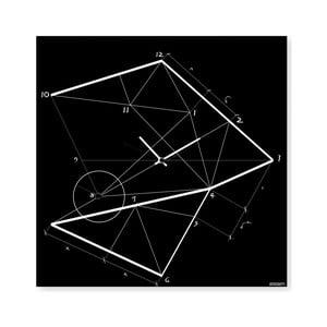 Nástenné hodiny dESIGNoBJECT.it Time Line Black, 50 x 50 cm