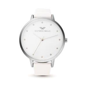 Dámske hodinky s bielym koženým remienkom Victoria Walls Mist