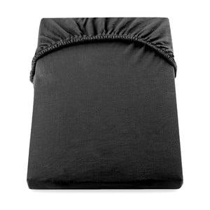 Čierna elastická plachta DecoKing Nephrite, 160-180 cm