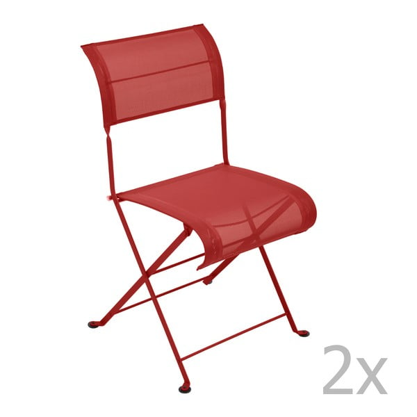 Sada 2 sýtočervených skladacích stoličiek Fermob Dune