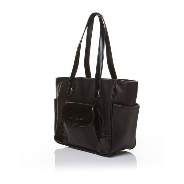 Kožená kabelka cez rameno Marta Ponti Pocket Deux, čierna
