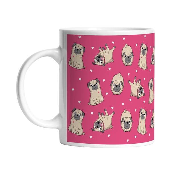 Keramický hrnček Playful Pugs, 330 ml