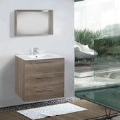 Kúpeľňová skrinka s umývadlom a zrkadlom Darwin, dekor dubu, 70 cm