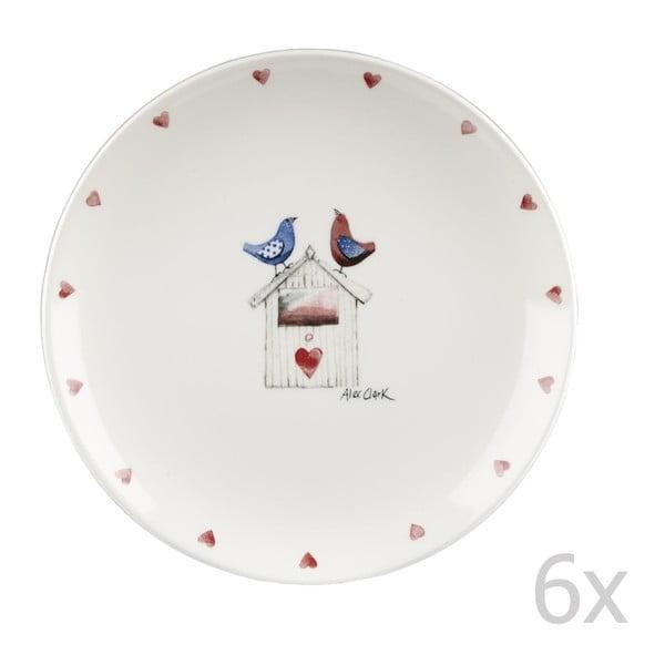 Sada 6 ks tanierov Two Lovebirds, 20 cm