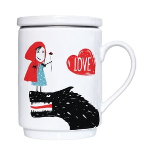 Porcelánový hrnek s viečkom a sitkom Red Love, 300 ml