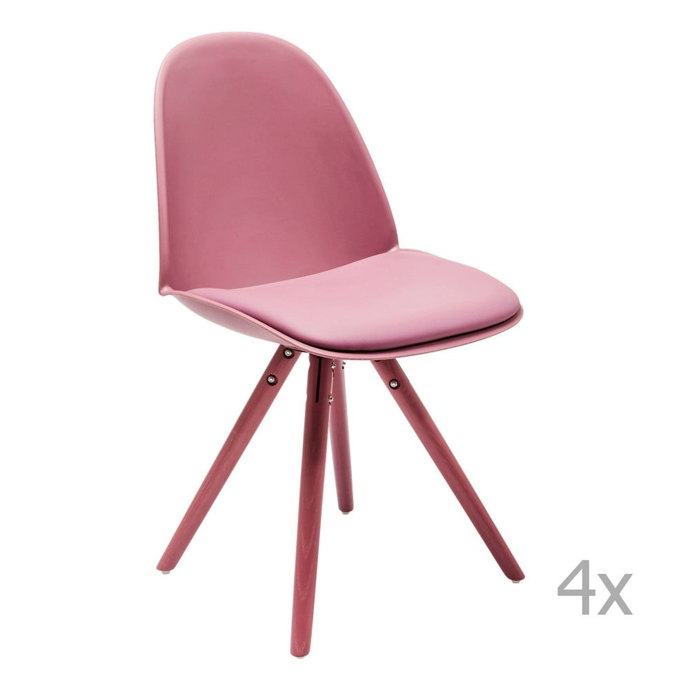 Sada 4 ružových jedálenských stoličiek Kare Design CandyWorld