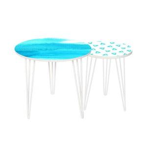 Sada 2 odkladacích stolíkov Turquoise Sea, 35 cm + 49 cm