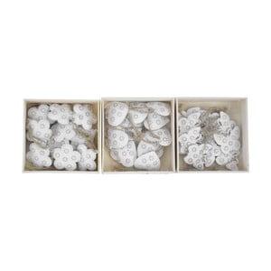 Sada 30 bielych závesných dekorácií s motívom srdca Ego Dekor, 10×3 cm