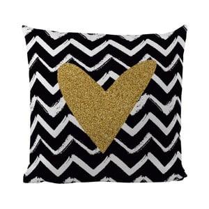 Vankúš Black Shake Gold Heart, 50x50cm