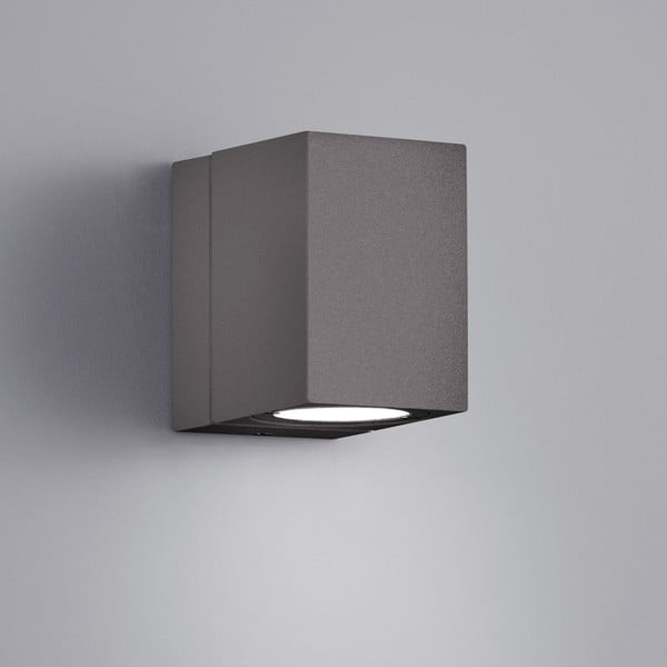 Sivé vonkajšie nástenné svetlo Trio Tiber, výška 10 cm