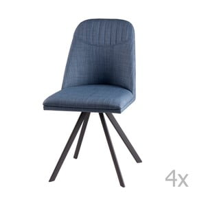 Sada 4 svetlomodrých otočných jedálenských stoličiek sømcasa Cris