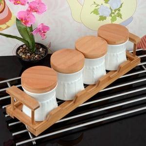 Bambusový stojan so 4 dózami Bambul