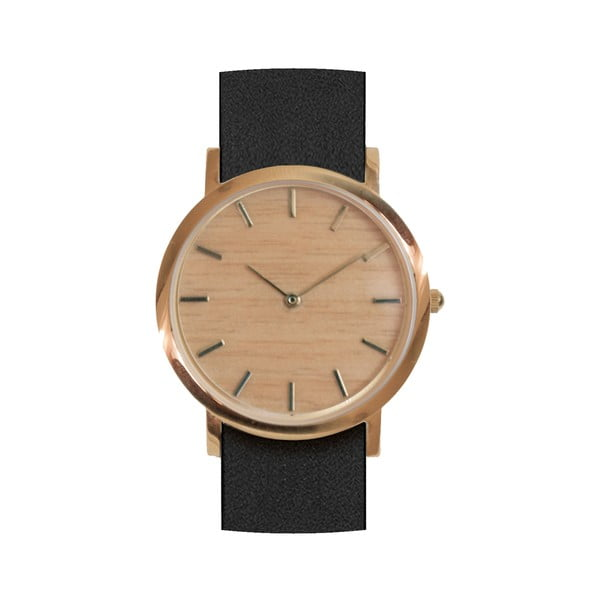 Čierne drevené hodinky Analog Watch Co. Classic
