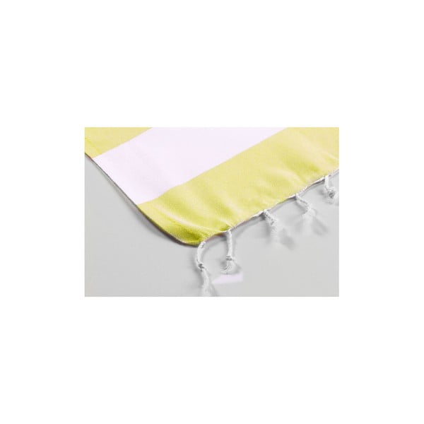 Bielo-žltá hammam osuška Myra, 100 x 180 cm