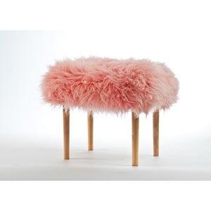 Stolička z ovčej kože Carys Baby Pink