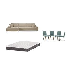 Set sivobéžovej pohovky s leňoškou vľavo, 4 sivozelených stoličiek a matraca 160 × 200 cm Home Essentials