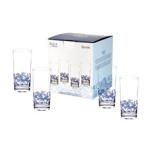 Sada 4 bielo-modrých sklenených pohárov Spode Blue Italian, 420 ml