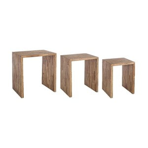 Sada 3 odkladacích stolíkov z recyklovaného dreva Bizzotto Alvin