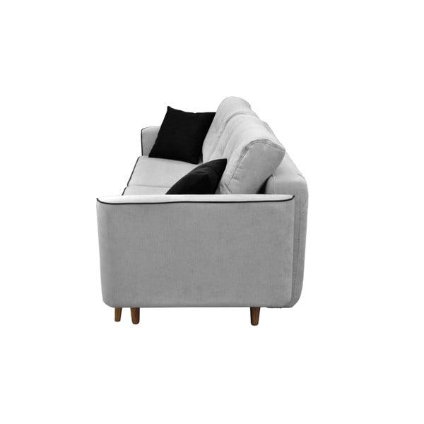 Sivá dvojmiestna rozkladacia pohovka so svetlými nohami Mazzini Sofas Ivy