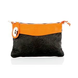 Čierno-oranžová kožená listová kabelka Glorious Black