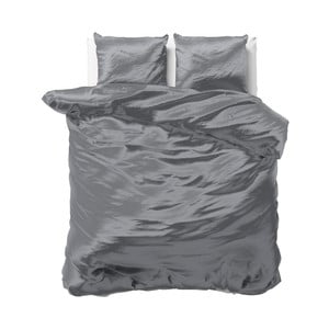 Tmavosivé obliečky zo saténového mikroperkálu na dvojlôžko Sleeptime, 240 x 220 cm
