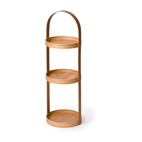 Guľatý trojposchodový stojan do kúpeľne Caddy Bamboo