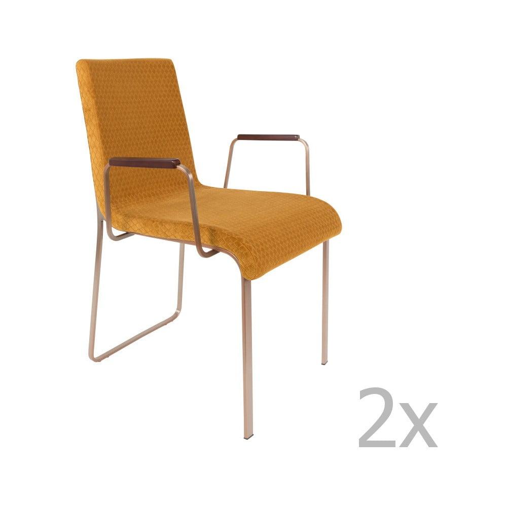 Sada 2 žlutých stoličiek s opierkami na ruky Dutchbone Fiore