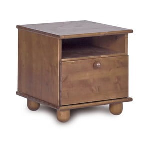 Tmavohnedý nočný stolík z borovicového dreva Faktum Tomi