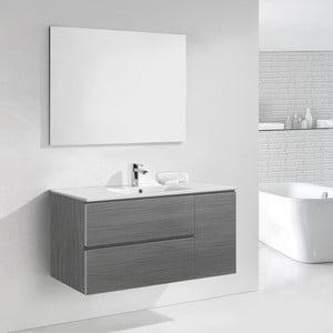 Kúpeľňová skrinka s umývadlom a zrkadlom Happy, odtieň sivej, 120 cm