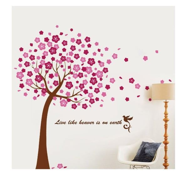 Samolepka na stenu Walplus Veľký ružový strom