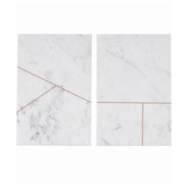 Sada 2 mramorových podložiek Marble White, 20x30 cm
