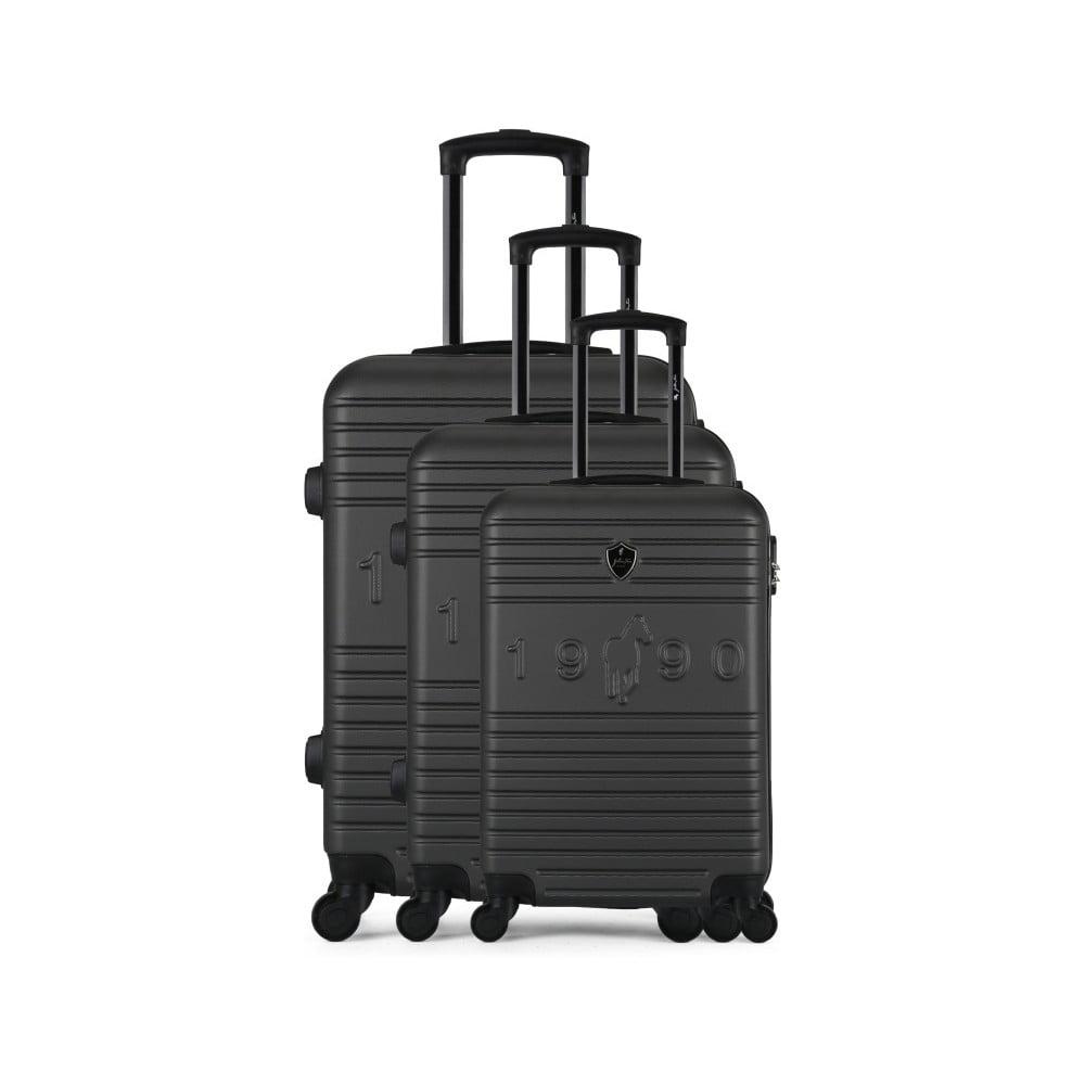 Sada 3 tmavosivých cestovných kufrov na kolieskach GENTLEMAN FARMER 1990 Valises