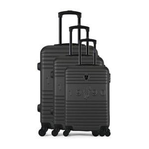 Sada 3 tmavosivých cestovných kufrov na kolieskach GENTLEMAN FARMER Cadenas Integre Duro