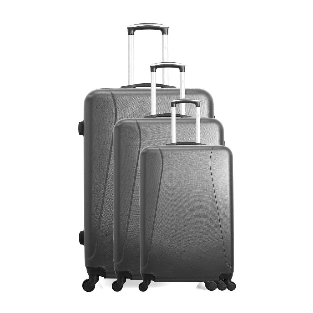 Sada 3 tmavosivých cestovných kufrov na kolieskach Hero Jackson