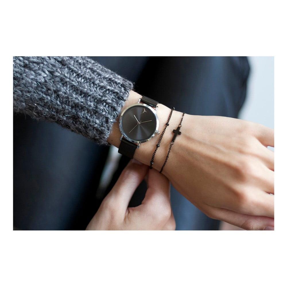 5473c4da78e Dámske hodinky s čiernym remienkom z antikoro ocele Emily Westwood Black ...