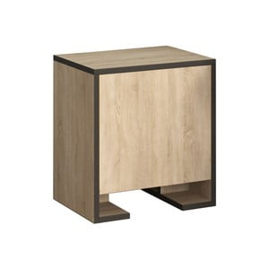 Hnedý nočný stolík s antracitovými detailmi Homitis Payti