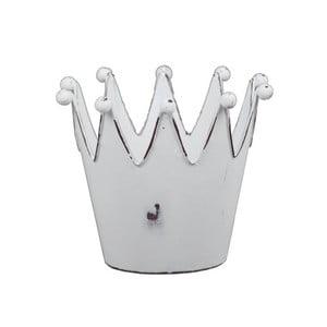 Biely kovový svietnik v tvare korunky Ego Dekor Crown