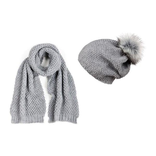 Sada čiapky a šálu Pompon Grey
