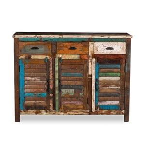 Trojdverový príborník z recyklovaného dreva Woodking Colour