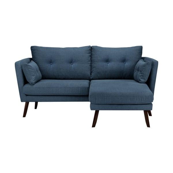 Modrá trojmiestna pohovka Mazzini Sofas Elena, s leňoškou na pravom rohu