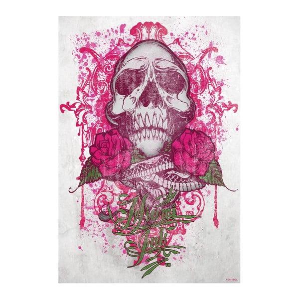 Veľkoformátová tapeta Miami Ink - Ružová lebka, 158x232 cm