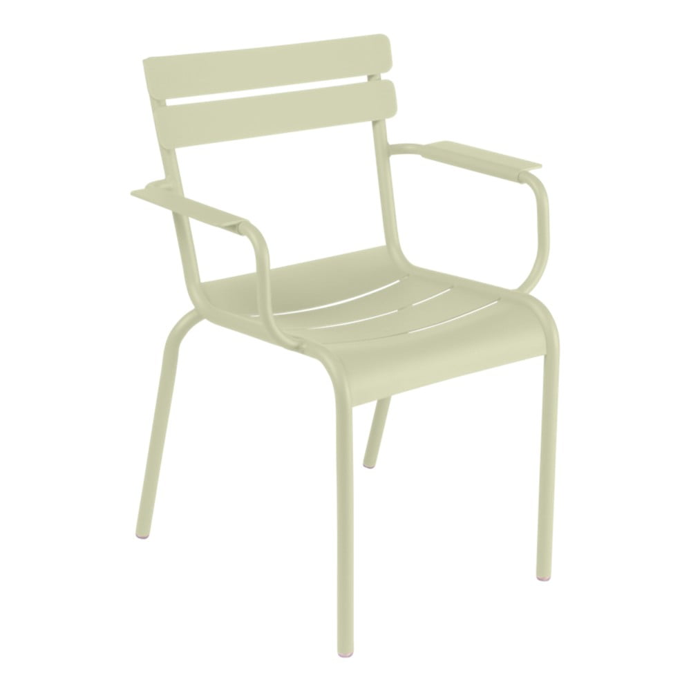 Svetlozelená záhradná stolička s opierkami Fermob Luxembourg