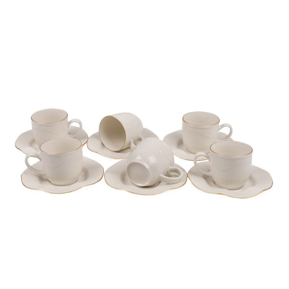Sada 6 porcelánových šálok s tanierikmi Kutahya Rullio