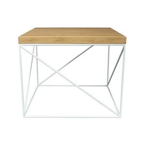 Biely konferenčný stolík s doskou z dubového dreva Take Me HOME Hamburg, 53×53cm