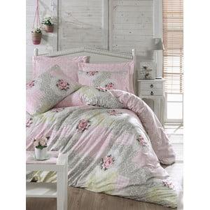 Bavlnené obliečky s plachtou Melani Pink, 200 x 220 cm