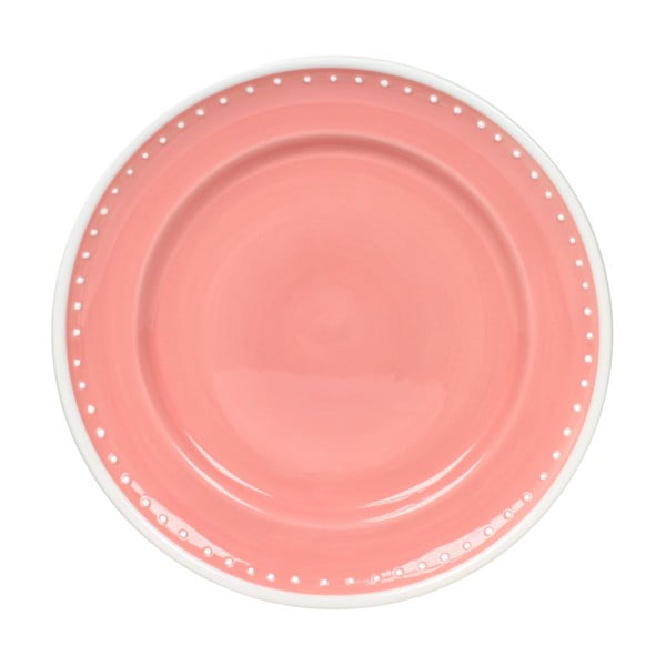 Sada 6 tanierov Dots Pink 21 cm, ružová