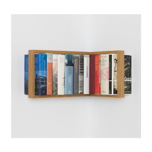 Rohová polica na knihy z dubového dreva das kleine b b2, výška 25 cm