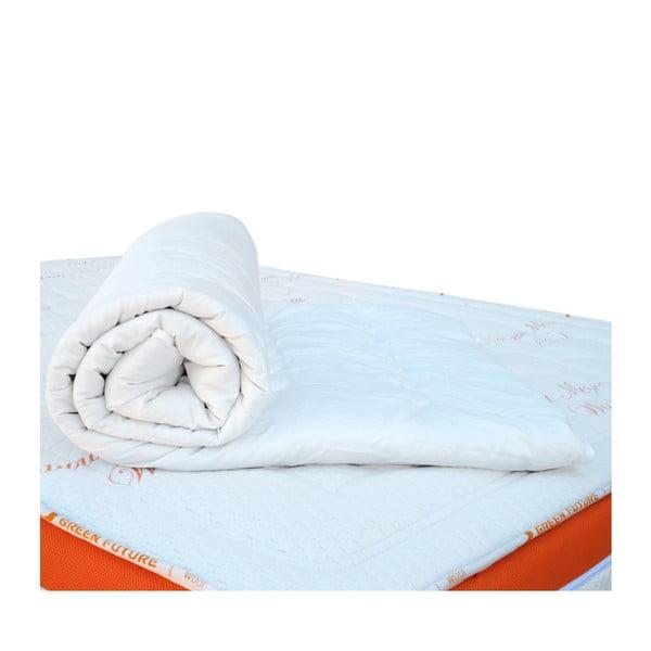 Biela ochranná podložka na matrac s vlnou merino Lana Green Future, 140 x 200 cm