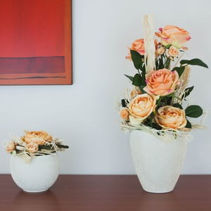 Kvetinová dekorácia od Aranžérie, sada kvetináčov s oranžovými ružami