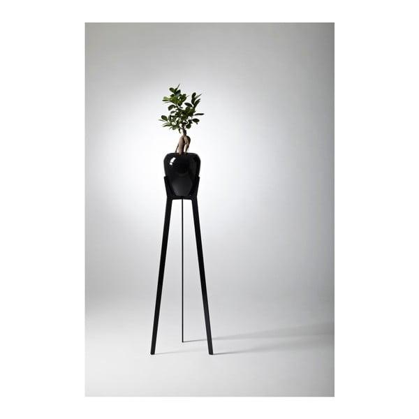 Samozavlažovací kvetináč Calimera (čierna) so stojanom Torreta